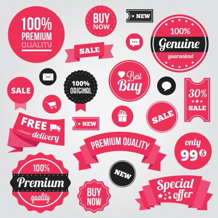 Stylish Labels Badges Stickers and Ribbons  Vector