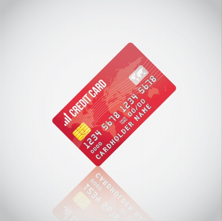mastercard: Red Credit Card  Illustration