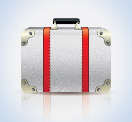 White Leather Suitcase Vector