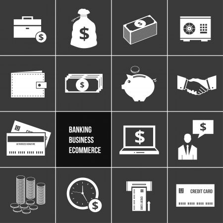 Business E commerce Banking and Finance Money Icons Set  Vector