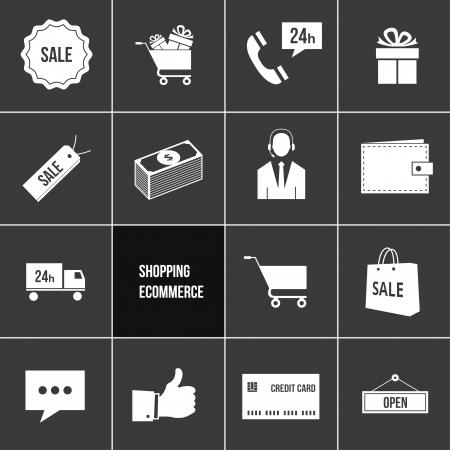 e commerce: Bedrijf Winkelen en e-commerce Icons Set Stock Illustratie