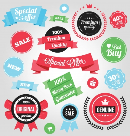 Colorful Stickers Labels and Badges Set  Vector