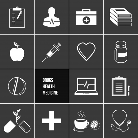Medicine Health and Drugs Icons Set  Vector