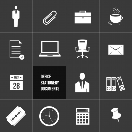 Office Stationery and Documents Icons Set  Vector