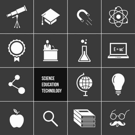 Science Education and Technology Icons Set  Vector