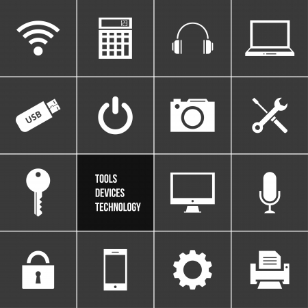 shut down: Tools Devices and Technology Icons Set