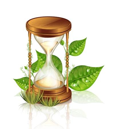 Hourglass And Plants Reklamní fotografie - 21721548