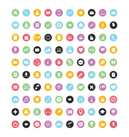 stationery: 100 Colorful Vector Icons for Web and Mobile Illustration