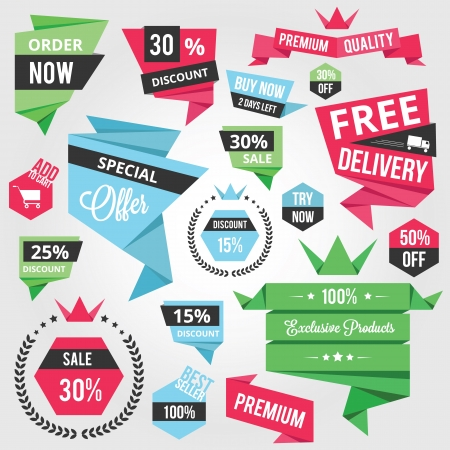 ecommerce: Set of Colorful Discount Sale Concept Labels and Stickers  Illustration
