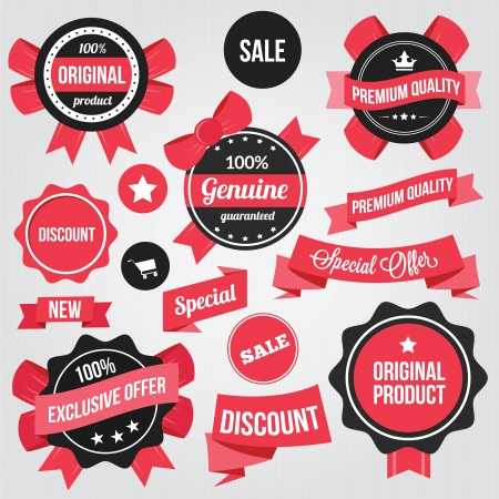 discount coupon: Vector Badges Stickers and Ribbons Set Red Illustration