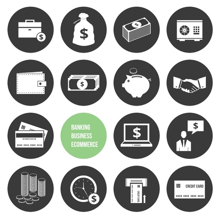 thrift box: Vector Business Ecommerce Banking and Finance Money Icons Set