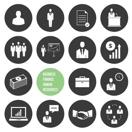 Vector Business Management and Human Resources Icons Set Stock Vector - 21721662