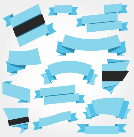 blue button: Vector Ribbons Set Blue Illustration