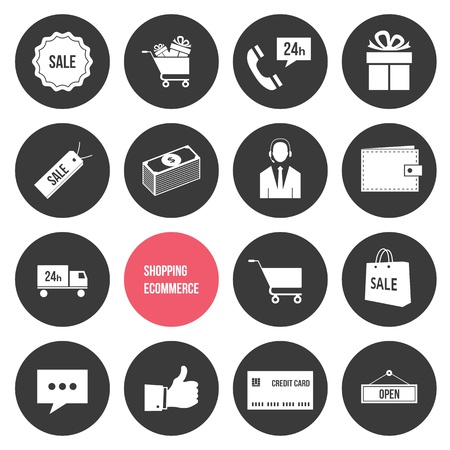 Vector Shopping and Ecommerce Icons Set  Vector