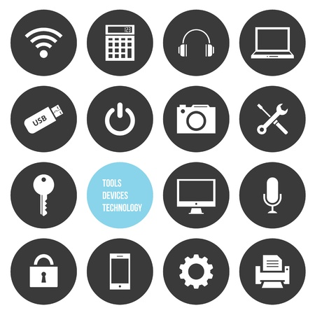 shutdown: Vector Tools Devices and Technology Icons Set Illustration