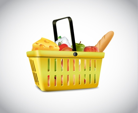 Plastic Basket With Food  Vector