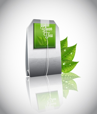 green tea: Tea Bag  Illustration