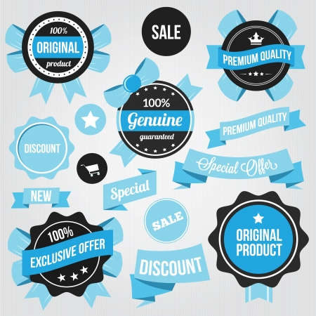 Vector Badges Stickers and Ribbons Set Blue  Vector