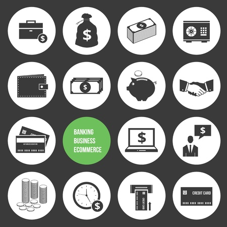 Vector Business Ecommerce Banking and Finance Money Icons Set Vector