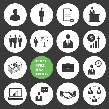 business people shaking hands: Vector Business Management and Human Resources Icons Set