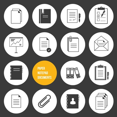 Vector Notepad Paper Documents Icons Set