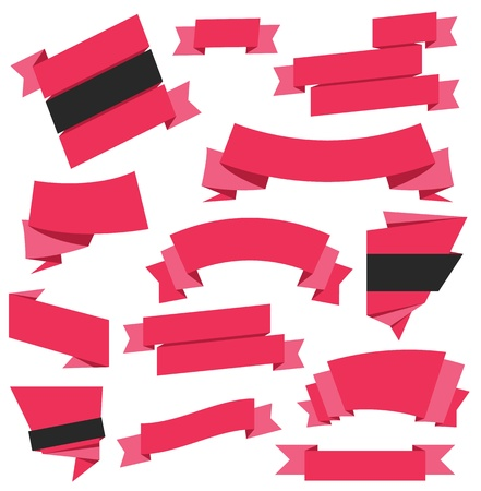 Vector Ribbons Set Red Stock Vector - 21918633