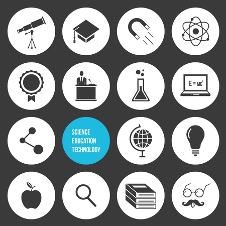 Vector Science Education and Technology Icons Set  Vector