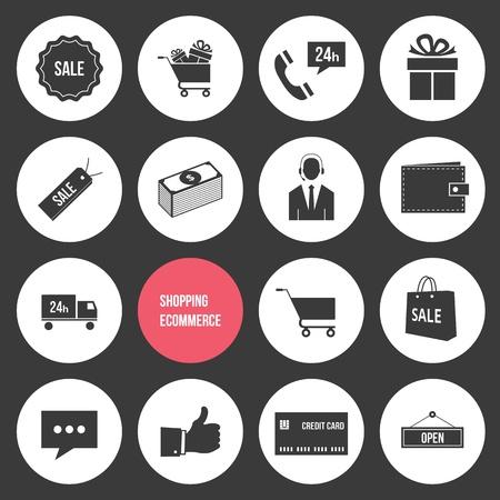 e commerce icon: Vector Compras y comercio electr�nico Iconos Conjunto