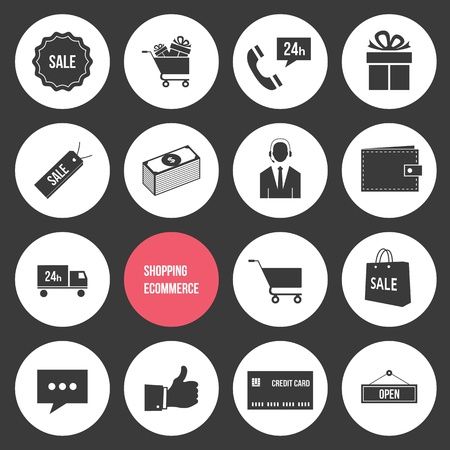 e cart: Vector Shopping and Ecommerce Icons Set