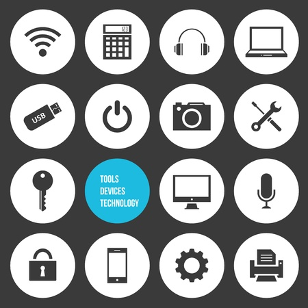 Vector Tools Devices and Technology Icons Set Illustration