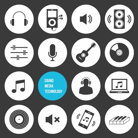 Vector Sound Media and Technology Icons Vector