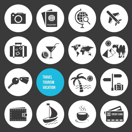 Vector Travel and Tourism Icons Set  Vector
