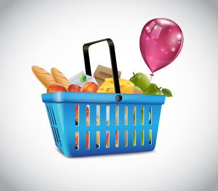foodstuffs: Blue Plastic Basket With Food  Illustration