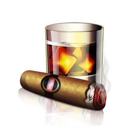 sigaretta: Sigaro E Whiskey Icona Vettoriali