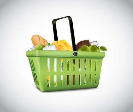 Green Plastic Basket With Food Vector