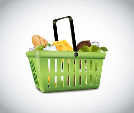 produits alimentaires: Vert panier en plastique avec de la nourriture Illustration