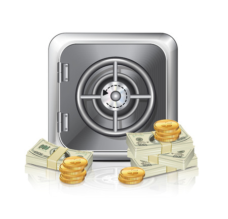 Safe Icon With Money  Vector