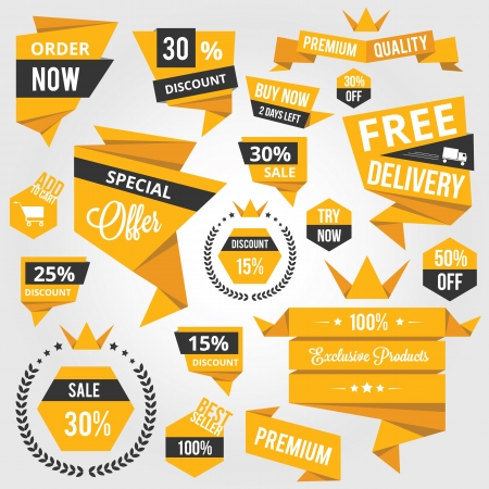 discount buttons: Set of Discount Sale Concept Labels and Stickers Yellow  Illustration