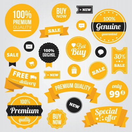tags: Vector Stylish Labels Badges Stickers and Ribbons Set Yellow