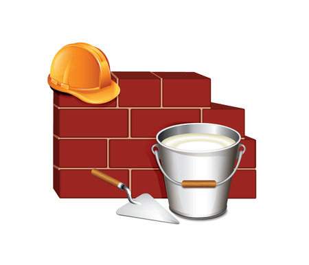 Trowel and brick wall building icon Vector