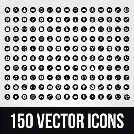 150 iconos universales para móviles y Web Foto de archivo - 22575750