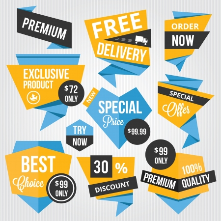best price: Premium Sale Badges and Labels Blue Yellow  Illustration