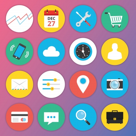 Trendy Premium Flat Icons for Web and Mobile Applications Set 1 Illustration
