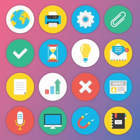 Trendy Premium Flat Icons for Web and Mobile Applications Set 2 Vector