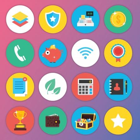 cofre del tesoro: Moda Iconos Piso de primera calidad para la Web y Aplicaciones Móviles Set 3 Vectores