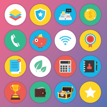 coin purse: Trendy Premium Flat Icons for Web and Mobile Applications Set 3