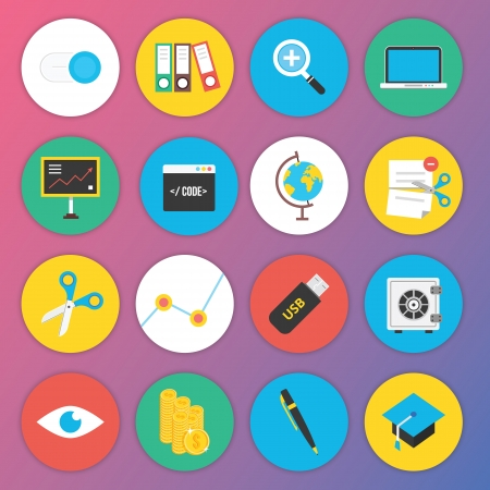 Trendy Premium Flat Icons for Web and Mobile Applications Set 4 Stock Vector - 22712514