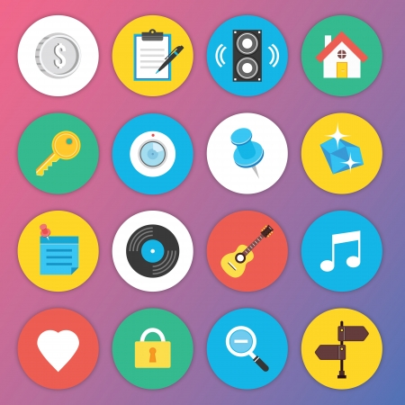 Trendy Premium Flat Icons for Web and Mobile Applications Set 5 Stock Vector - 22712516