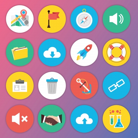 Trendy Premium Flat Icons for Web and Mobile Applications Set 6 Vector