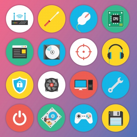Trendy Premium Flat Icons for Web and Mobile Applications Set 7 Special Hardware Set Vector
